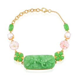 Exclusive Edition- Rare Hand  Carved Green Jade, Pink Mother of Pearl, White Pearl and Natural White Cambodian Zircon Floral Bracelet (Size 8) in Yellow Gold Overlay Sterling Silver 43.080 Ct.