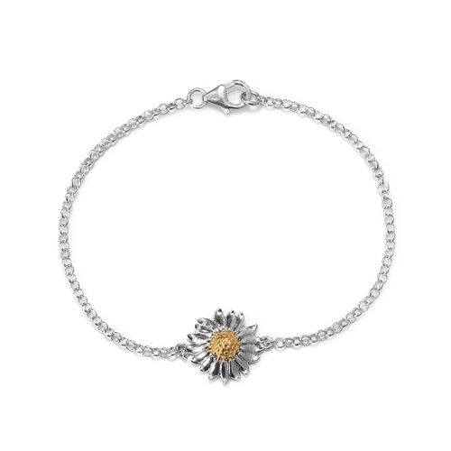 Platinum and Yellow Gold Overlay Sterling Silver Floral Bracelet (Size 7.5)