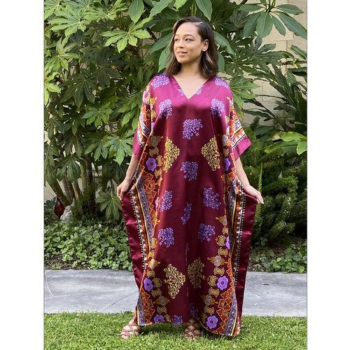Winlar LAUREL Long Flower Print Dress (One Size, S - XXL) - Burgundy