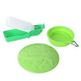 Pet Accessories Set of 3- Green Colour Dog Frisbee, Squeeze Water Bottle and Foldable Silicon Bowl