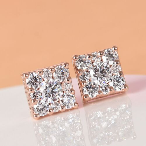 J Francis Rose Gold Overlay Sterling Silver Stud Earrings (with Push Back) Made with SWAROVSKI ZIRCONIA 3.35 Ct.