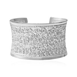 Cuff Bangle with Floral Motifs in Sterling Silver 49.57 Grams Size 7 Inch