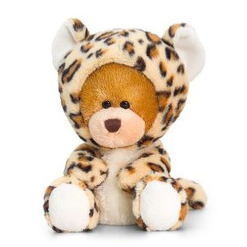 Cream, White and Chocolate Colour Pipp Bear with Onesie Leopard (Size 14 Cm)