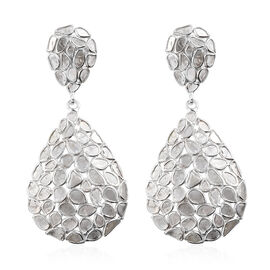 Artisan Crafted Polki Diamond Drop Earrings (with Push Back) in Platinum Overlay Sterling Silver 4.0