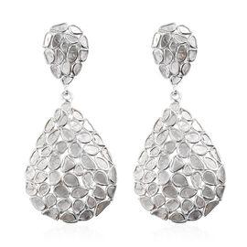 4 Ct Polki Diamond Drop Cluster Earrings in Platinum Plated Sterling Silver 5.90 Grams