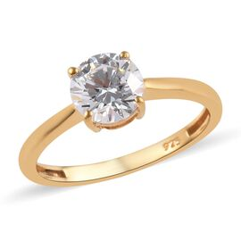 J Francis -  14K Gold Overlay Sterling Silver (Rnd) Solitaire Ring Made with SWAROVSKI ZIRCONIA 1.03