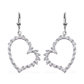 Simulated Diamond Heart Drop Earrings in Rhodium Plated Sterling Silver 6.4 Grams With Hook