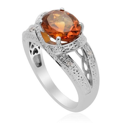 Madeira Citrine (Ovl 2.30 Ct) Diamond Ring in Platinum Overlay Sterling Silver 2.350 Ct.