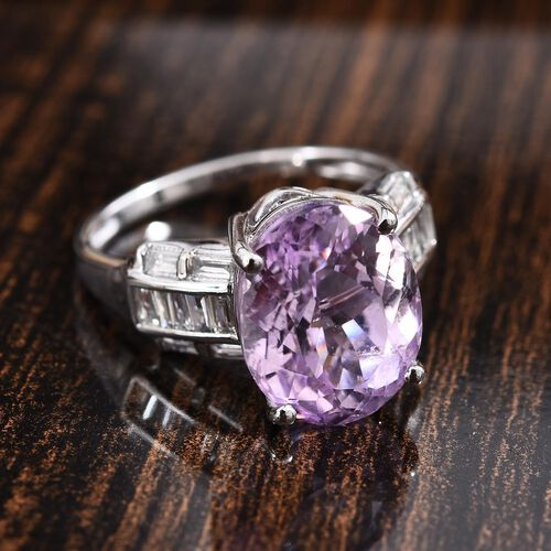 14K White Gold AA Kunzite (Ovl 12x10 mm), Diamond (I2/G-H) Ring 6.65 Ct.
