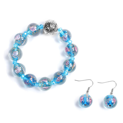 2 Piece Set -  Blue Murano  Style  Glass and Simulated Blue Sapphire Beaded Bracelet and Hook Earrin