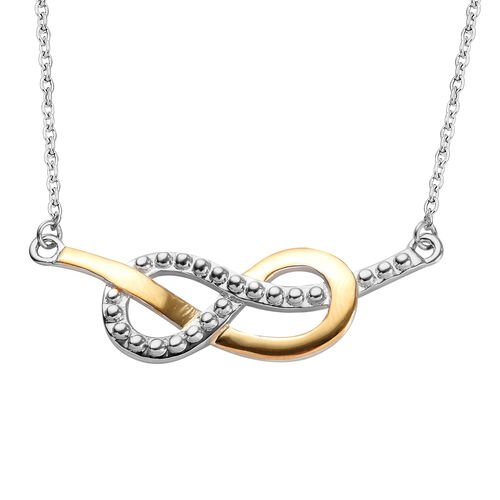 Platinum and Yellow Gold Overlay Sterling Silver Infinity Necklace (Size 18), Silver wt 5.10 Gms