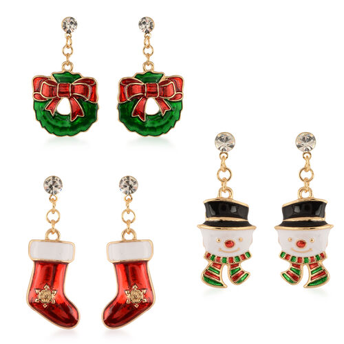 Set of 3 - White Austrian Crystal Christmas Theme Enamelled Earrings (with Push Back)
