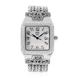Royal Bali Collection EON 1962 Swiss Movement Water Resistant Watch (Size 6.75) in Sterling Silver, Silver Wt. 58.00 Gms