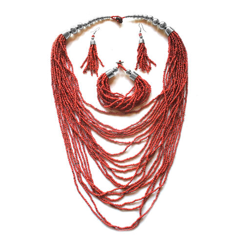Simulated Coral Beads Necklace (Size 22), Bracelet (Size 8.5) and Hook Earrings in Silver Tone