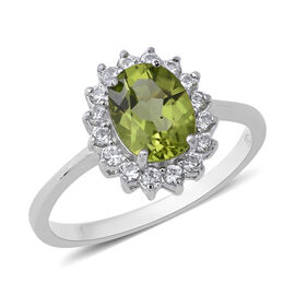 Hebei Peridot (Ovl), Natural Cambodian White Zircon Ring in Rhodium Overlay Sterling Silver 2.450 Ct