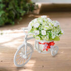 Nostalgic Bicycle Artificial Flower Decor Plant Stand (Size: 26x13x18 Cm) - White and Green