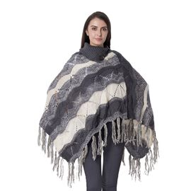 Collar with Two Decorative Button Wave Pattern Poncho with Tassels (Size 85x60 Cm) Colour Grey and C