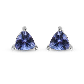 Tanzanite (Trl) Stud Earrings (with Push Back) in Platinum Overlay Sterling Silver 0.75 Ct.