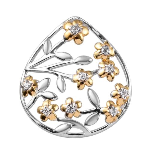 J Francis - Platinum and Yellow Gold Overlay Sterling Silver Floral Pendant Made with SWAROVSKI ZIRC