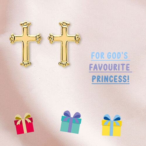 Cross Stud Earrings for Kids (with Push Back) in 9K Yellow Gold