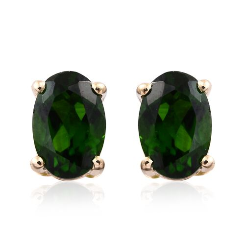 9K Yellow Gold 1 Carat AAA Russian Diopside (Ovl) Stud Earrings (with Push Back)