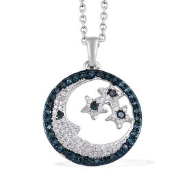GP White Diamond (Rnd), Blue Diamond and Kanchanaburi Blue Sapphire Star and Moon Pendant with Chain in Platinum Overlay Sterling Silver 0.520 Ct, Number of Diamonds- 100.