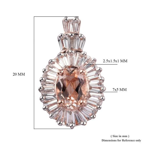 Marropino Morganite and Natural Cambodian Zircon Pendant in Rose Gold Overlay Sterling Silver 1.01 Ct.