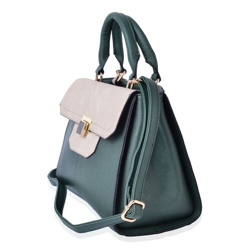 Timeless Collection Tote Bag with External Zipper Pocket and Adjustable and Removable Shoulder Strap (Size 30.5X22X14.5 Cm)