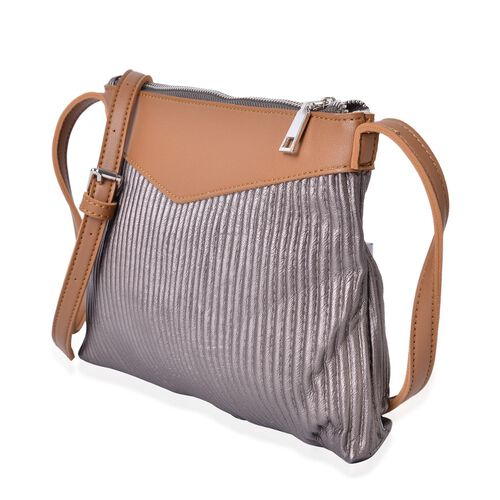 Glamour Bronze Pleated Crossbody Bag with Adjustable Shoulder Strap (Size 27X24X18 Cm)