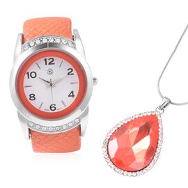 2 Piece Set - STRADA Japanese Movement Water Resistant Bangle Watch (6-7) with Simulated Fire Opal a