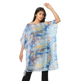 100% Mulberry Silk Digital Printed Kaftan in Yellow and Sky Blue (Size 95x90Cm)
