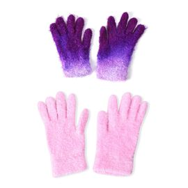 Set of 2 - Stretchable Winter Gloves in Free Size -  Pink and Purple