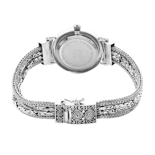 Royal Bali Collection - EON 1962 Swiss Movement Water Resistant Filigree 4 Row Tulang Naga and Borobudur Bracelet Watch (Size 6.5) in Sterling Silver, Silver wt 32.00 Gms