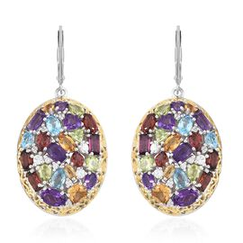 Amethyst (Ovl), Rhodolite Garnet and Multi Gemstone Lever Back Earrings in Yelllow Gold and Platinum Overlay Sterling Silver 11.250 Ct. Silver wt 11.53 Gms.