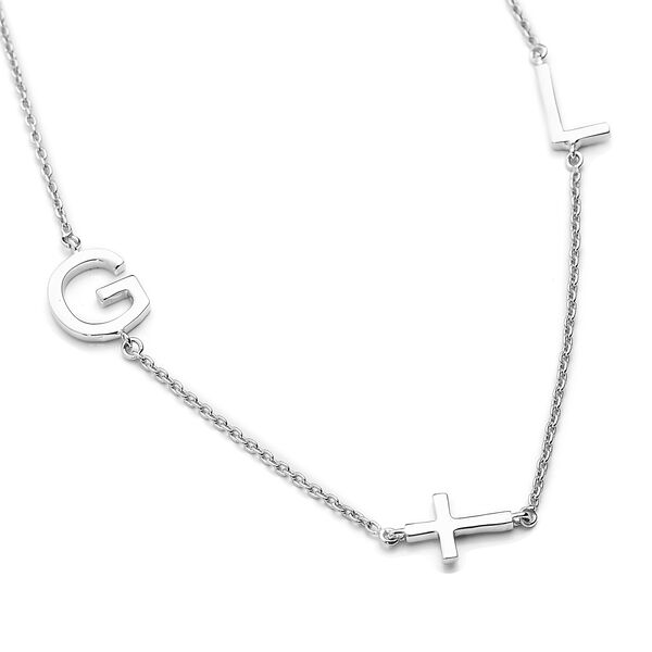 Personalised Two Alphabet + Cross, Name Necklce in Silver, Size 18+2 Inch
