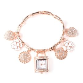 STRADA Japanese Movement White Austrian Crystal Multi-charm Bracelet Watch in Rose Gold Tone