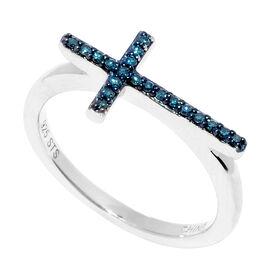 Blue Diamond (Rnd) Cross Ring in Blue Rhodium Overlay Sterling Silver 0.100 Ct.
