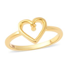 LucyQ Single Drip Heart Ring in Yellow Gold Overlay Sterling Silver