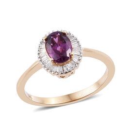 9K Yellow Gold AAA Purple Garnet (Ovl), Diamond Ring 1.20 Ct.
