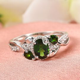 Russian Diopside and Natural Cambodian Zircon Ring in Platinum Overlay Sterling Silver 1.32 Ct.