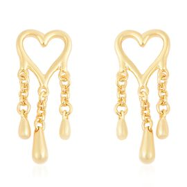 LucyQ Three Drip Heart Earrings (with Push Back) in Yellow Gold Overlay Sterling Silver
