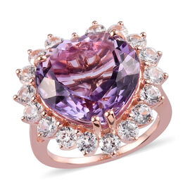 Rose De France Amethyst and Natural Cambodian Zircon Halo Heart Ring  in Rose Gold Overlay Sterling