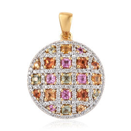 Multi Sapphire Circle Pendant in 14K Gold Overlay Sterling Silver 3.000 Ct, Number of Gemstone 171