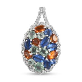 Multi Colour Kyanite and Natural Cambodian Zircon Pendant in Platinum Overlay Sterling Silver 5.220