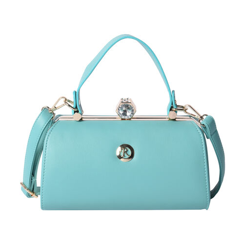 BOUTIQUE COLLECTION Green Colour Clutch Bag with Detachable and Adjustable Shoulder Strap with Cryst