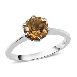 AA Citrine Solitaire Ring in Platinum Overlay Sterling Silver 1.25 Ct.