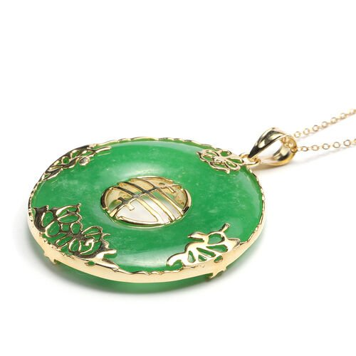 MP Burmese Green Jade Pendant With Chain (Size 18) in 14K Gold Overlay Sterling Silver 80.10 Ct