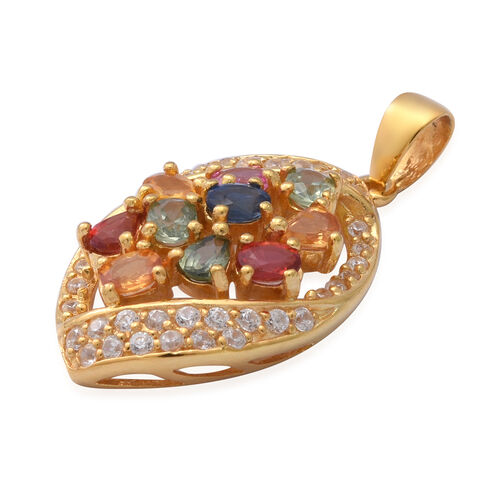 Rainbow Sapphire and Natural Cambodian Zircon Pendant in Yellow Gold Overlay Sterling Silver 3.10 Ct.