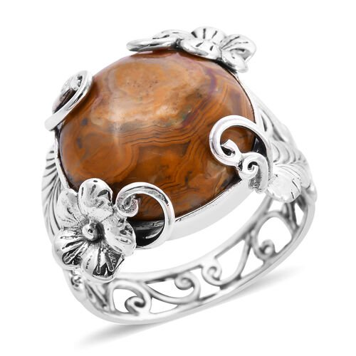 Royal Bali Collection - Agate Floral Ring in Sterling Silver 11.74 Ct.