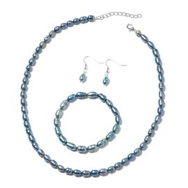 3 Piece Set-  Freshwater Peacock Pearl Necklace (Size 18 with 1 inch Extender) Bracelet (Stretchable